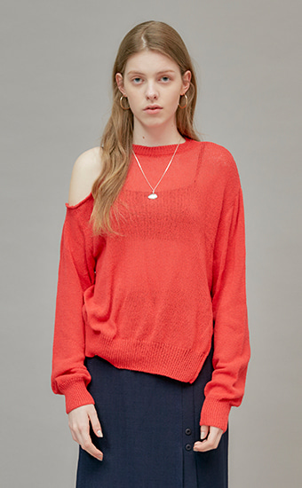 18 SUMMER LOCLE UNBALANCE CUTTING KNIT - RED